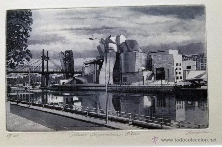 GRABADO DE BILBAO MUSEO GUGGENHEIM OBRA DE J.Mª DEL VALLE BOURGON (Arte - Grabados - Contemporáneos siglo XX)
