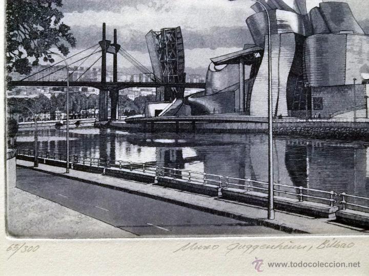 Arte: Grabado de Bilbao Museo Guggenheim obra de J.Mª del Valle Bourgon - Foto 2 - 53264816