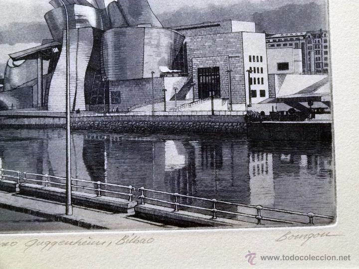 Arte: Grabado de Bilbao Museo Guggenheim obra de J.Mª del Valle Bourgon - Foto 3 - 53264816