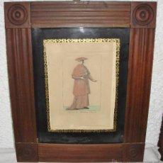 Arte: ANTIGUO GRABADO. 1827. CARDINALE CON MONTELLETA E MOZZETTA. MARCO DE CAOBA.. Lote 53437760
