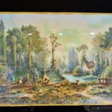 Arte: ESCENA CINEGÉTICA. GRABADO ILUMINADO FRANCÉS DEL S. XIX CON MARCO DORADO.. Lote 53504692