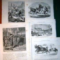 Arte: 6 GRABADOS DE UNA CORRIDA DE TOROS. 1875. Lote 53696763