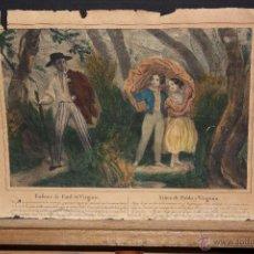 Arte: GRABADO ILUMINADO DEL SIGLO XIX TITULADO NIÑEZ DE PABLO Y VIRGINIA. Lote 53781099