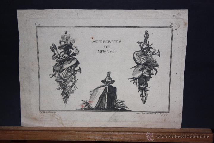 JEAN-CHARLES DE LA FOSSE (1734 - 1789) GRABADO DEL SIGLO XVIII TITULADO ATTRIBUTS DE MUSIQUE (Arte - Grabados - Antiguos hasta el siglo XVIII)