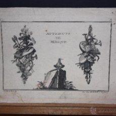 Arte: JEAN-CHARLES DE LA FOSSE (1734 - 1789) GRABADO DEL SIGLO XVIII TITULADO ATTRIBUTS DE MUSIQUE. Lote 53801291