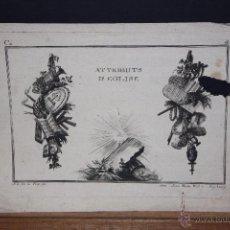 Arte: JEAN-CHARLES DE LA FOSSE (1734 - 1789) GRABADO DEL SIGLO XVIII, TITULADO ATTRIBUTS D'EGLISE. Lote 53801670