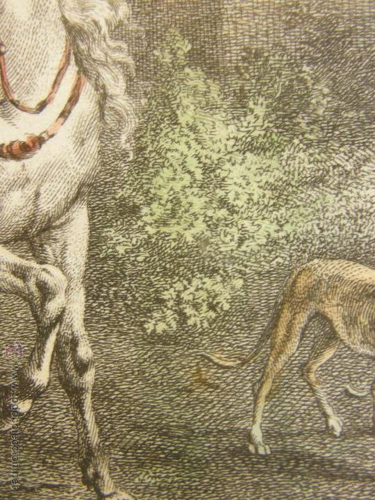 Arte: grabado coloreado plancha s XX primera mitad paisaje caza départ chasse van Falens Le bas 56x76cms - Foto 29 - 51159557