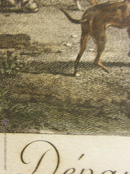 Arte: grabado coloreado plancha s XX primera mitad paisaje caza départ chasse van Falens Le bas 56x76cms - Foto 30 - 51159557