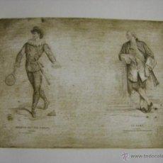 Arte: GRABADO FRANCÉS ACTUAL CON UNA PLANCHA DEL SIGLO XIX ARLEQUÍN Y EL MARQUÉS. Lote 53977560