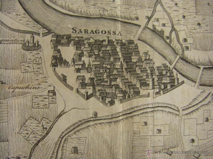Arte: Mapa de Zaragoza plano batalla año 1710 Guerra de Sucesión entre Borbones y Austracistas - Foto 2 - 53977984
