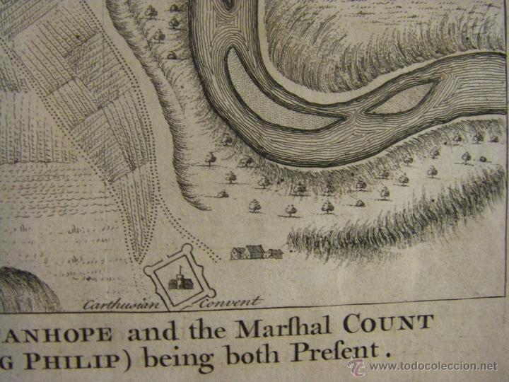 Arte: Mapa de Zaragoza plano batalla año 1710 Guerra de Sucesión entre Borbones y Austracistas - Foto 6 - 53977984