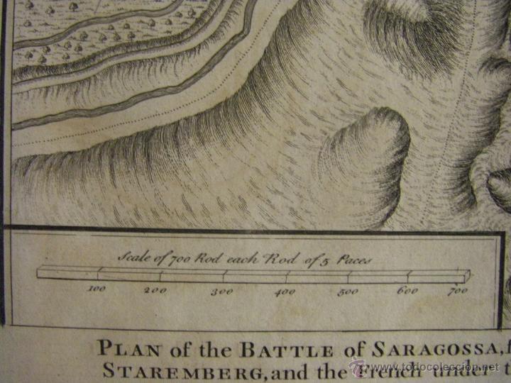 Arte: Mapa de Zaragoza plano batalla año 1710 Guerra de Sucesión entre Borbones y Austracistas - Foto 7 - 53977984