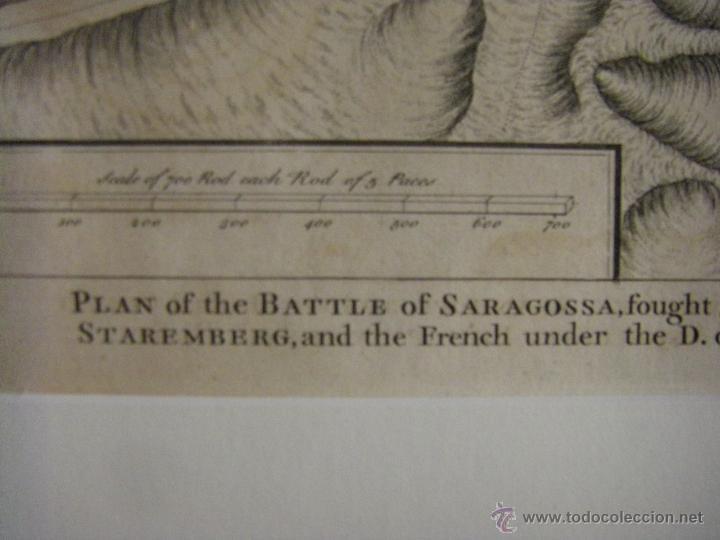 Arte: Mapa de Zaragoza plano batalla año 1710 Guerra de Sucesión entre Borbones y Austracistas - Foto 8 - 53977984