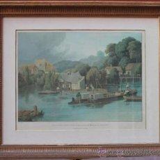 Arte: ROBERT HAVELL ANTIGUO GRABADO AGUATINTA EN COLOR MAGNÍFICAMENTE ENMARCADO WALLINFORD CASTLE AÑO 1818. Lote 53987854