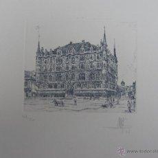 Arte: GRABADO AL AGUAFUERTE DE CASA BOTINES DE GAUDI (LEON). Lote 53993287