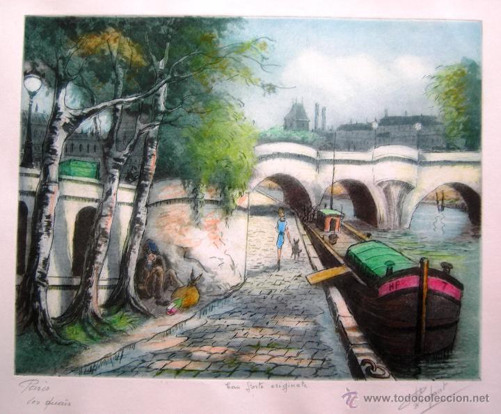 AGUAFUERTE COLOREADO. P. HERGANT - PARIS, LES QUAIS - PAPEL 35 X 28 CM - HUELLA 26 X 20 CM (Arte - Grabados - Contemporáneos siglo XX)