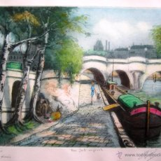 Arte: AGUAFUERTE COLOREADO. P. HERGANT - PARIS, LES QUAIS - PAPEL 35 X 28 CM - HUELLA 26 X 20 CM. Lote 54018966