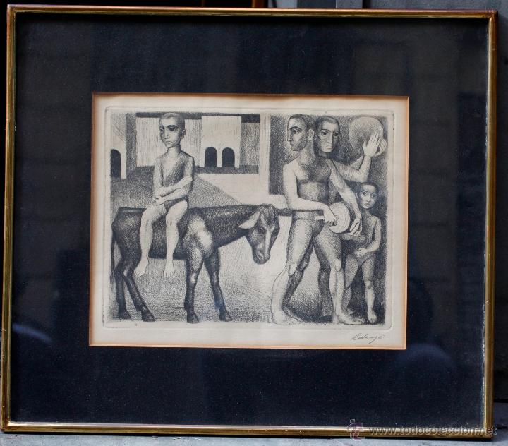 ISMAEL BALANYÀ (MONTBLANC 1921-2000) GRABADO 24X32CM. MARCO: 48X54CM. (Arte - Grabados - Contemporáneos siglo XX)