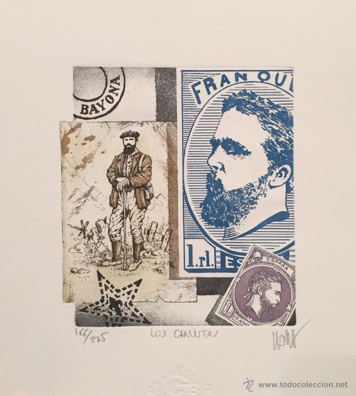 GRABADO ORIGINAL DE RAMIRO UNDABEYTIA. LOS CARLISTAS. FILATELIA. ED NUMERADA Y FIRMADA (Arte - Grabados - Contemporáneos siglo XX)