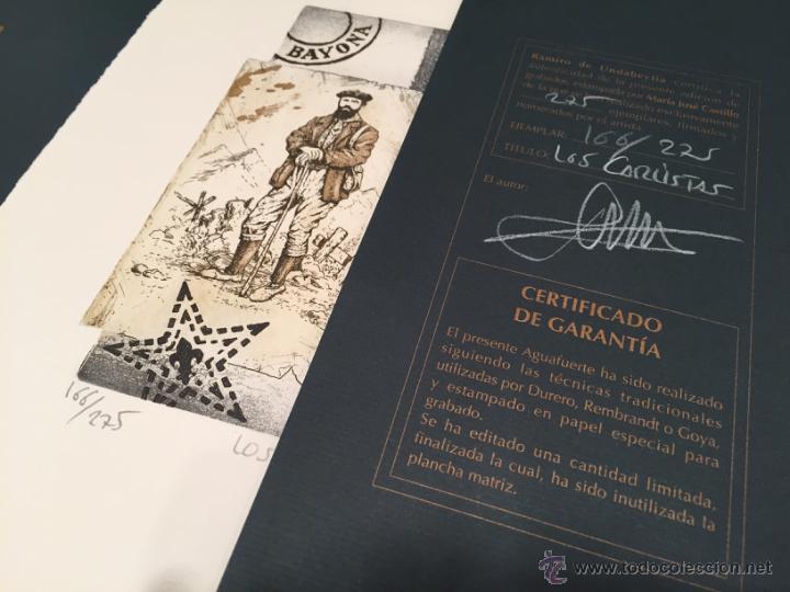 Arte: GRABADO ORIGINAL DE RAMIRO UNDABEYTIA. LOS CARLISTAS. FILATELIA. ED NUMERADA Y FIRMADA - Foto 3 - 54061137