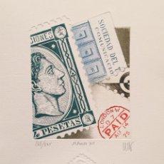 Arte: GRABADO ORIGINAL DE RAMIRO UNDABEYTIA. ALFONSO XII. FILATELIA. ED NUMERADA Y FIRMADA. Lote 54061248