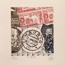 Arte: GRABADO ORIGINAL DE RAMIRO UNDABEYTIA. EL PESETA. FILATELIA. ED NUMERADA Y FIRMADA. Lote 54061337