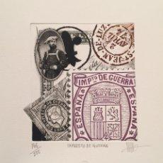 Arte: GRABADO ORIGINAL DE RAMIRO UNDABEYTIA. IMPUESTO DE GUERRA. FILATELIA. ED NUMERADA Y FIRMADA. Lote 54061456