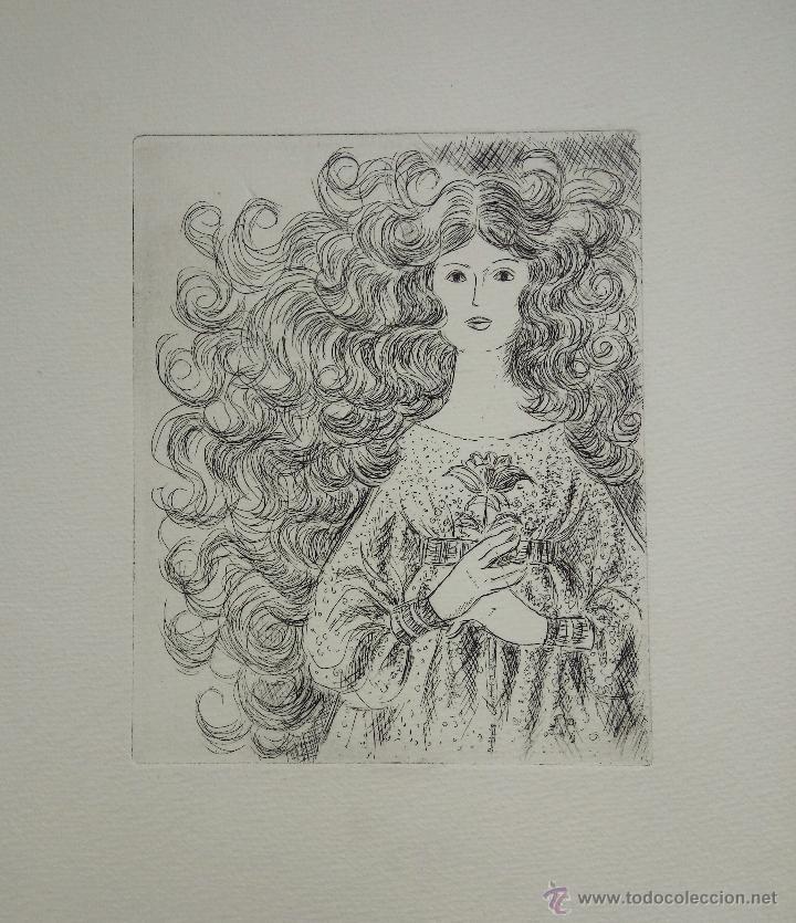 INTERESANTE GRABADO ORIGINAL, RETRATO DE UNA JOVEN (Arte - Grabados - Contemporáneos siglo XX)