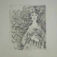 Arte: INTERESANTE GRABADO ORIGINAL, RETRATO DE UNA JOVEN. Lote 54217974