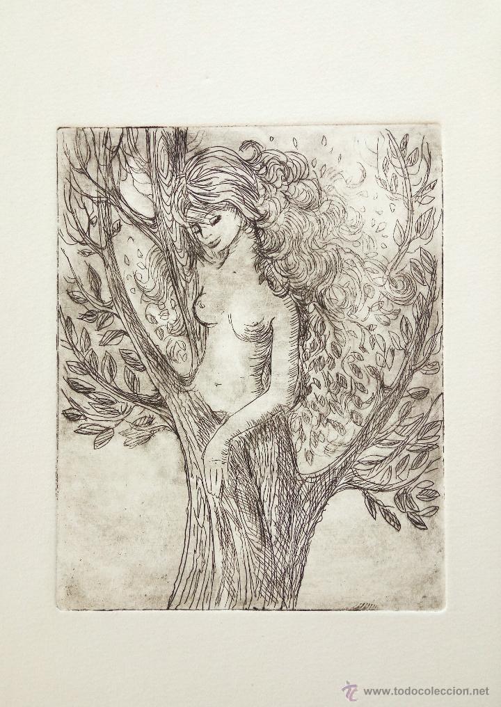 GRABADO ORIGINAL, RETRATO DE UNA JOVEN, 27 X 20 CM (Arte - Grabados - Contemporáneos siglo XX)