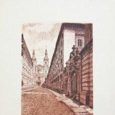 Arte: PAISAJE URBANO DE GRAN CALIDAD, FIRMADO A LAPIZ, 25 X 19 CM. Lote 54246572
