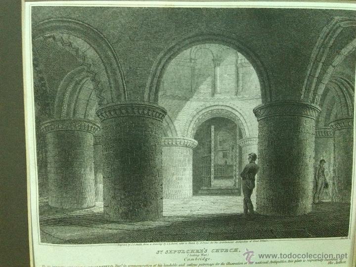 GRABADO SIGLO XIX 1805 APROX. IGLESIA DEL SANTO SEPULCRO EN CAMBRIDGE (Arte - Grabados - Modernos siglo XIX)