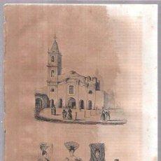 Arte: GRABADOS DE IGLESIA DE SANTO DOMINGO. TRAJES PORTENAS EN EL PASEO, BAILE Y LA IGLESIA 18,8 X 27 CM. Lote 54347579
