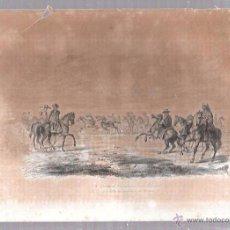 Arte: GRABADOS DE CORRIDA DE CABALLOS EN LAS PAMPAS. 18,8 X 27 CM. Lote 54348223