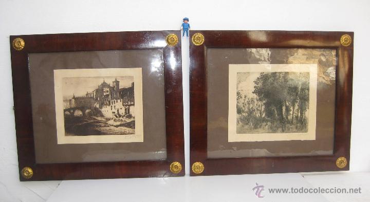 INCREIBLES 2 GRABADO ANTIGUO JOSEP GUDIOL Y RICART CATEDRAL VIC Y PAISAJE MARCO CUADRO (Arte - Grabados - Modernos siglo XIX)