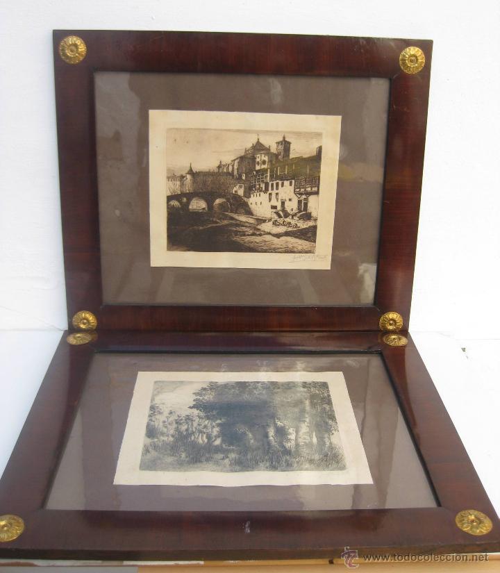 Arte: INCREIBLES 2 GRABADO ANTIGUO JOSEP GUDIOL Y RICART CATEDRAL VIC Y PAISAJE MARCO CUADRO - Foto 4 - 54381056