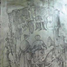 Arte: PLANCHA DE ACERO PARA GRABADO, EN LA ALMONEDA. Lote 54454556
