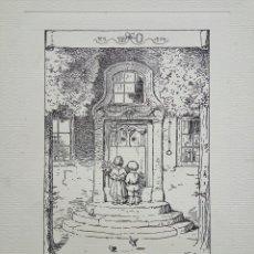 Arte: GRABADO ORIGINAL DE RUDOLF SCHAEFER 1904, GRAN CALIDAD, 33 X 25 CM, TIERNA ESCENA. Lote 54778752