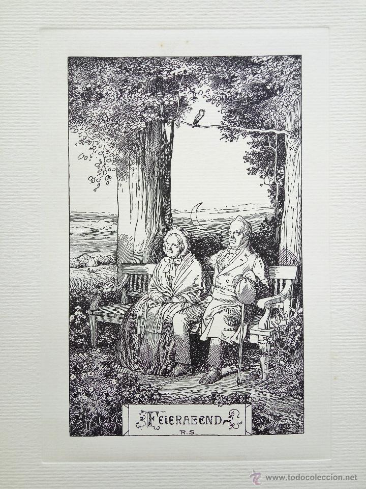 BONITO GRABADO ORIGINAL DE RUDOLF SCHAEFER, GRAN CALIDAD, 33 X 25 CM, CIRCA 1910 (Arte - Grabados - Contemporáneos siglo XX)