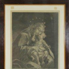 Arte: K3-030. VIRGEN CON NIÑO. GRABADO SOBRE PAPEL. ELIAS RIDINGER. SIGLO XVIII.. Lote 51217404