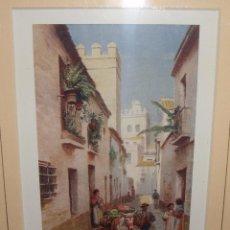 Arte: UNA CALLE DE SEVILLA. TREVOR HADDON. ENMARCADA CON PASPARTU.. Lote 54802951