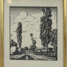 Arte: O1-001. LA CABAÑA. GRABADO EN PAPEL. FIRMA ILEGIBLE. S. XX.. Lote 48100366