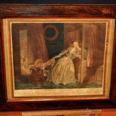NICOLAS FRANÇOIS REGNAULT (Francia, 1746-1810) GRABADO. LE BAISER À LA DÉROBÉE D'APRÈS FRAGONARD