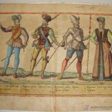 Arte: GRABADO ANTIGUO. S.XVII. VESTIEMENTAS MILITARES ESPAÑOLAS. ILUMINADO A MANO.. Lote 55048668