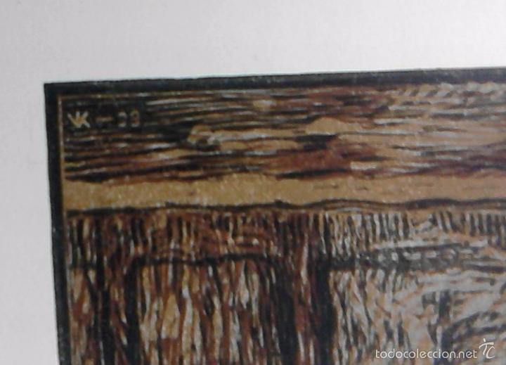 Arte: XILOGRAFÍA KAREL VIK. 1933. Grabado xilográfico a color. Firmado en plancha. Huella 17,2 x 16.8 cm. - Foto 3 - 55144870