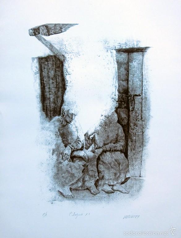 Arte: PECULIAR GRABADO TITULADO - FIRMADO Y FECHADO - COLÓQUIO 1º - PRUEBA DE AUTOR - AÑO 84 - ENMARCADO - Foto 13 - 55539336