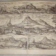 Arte: ANTIGUO GRABADO ORIGINAL DE 1564. ANTEQUERA, ARCHIDONA, LA PEÑA DE LOS ENAMORADOS.. Lote 55692381