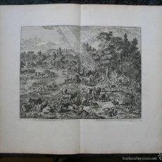 Arte: 1729 - GRABADO - BIBLIA - ADAN PUSO NOMBRES A LOS ANIMALES - JOHANNES LUYKEN - GRAN FORMATO. Lote 55713149