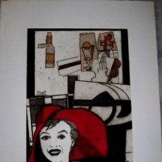 Arte: ANTONÍ MIRO GRABADO FIRMADO A MANO HUELLA P/A33X 24 CM LARGO 54 X 38 CM. Lote 55887726