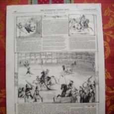 Arte: 1843-CORRIDA DE TOROS. 5 GRABADOS EN UNA HOJA, MUY GRANDE.DISTINTAS SUERTES DEL TOREO.. Lote 55946124